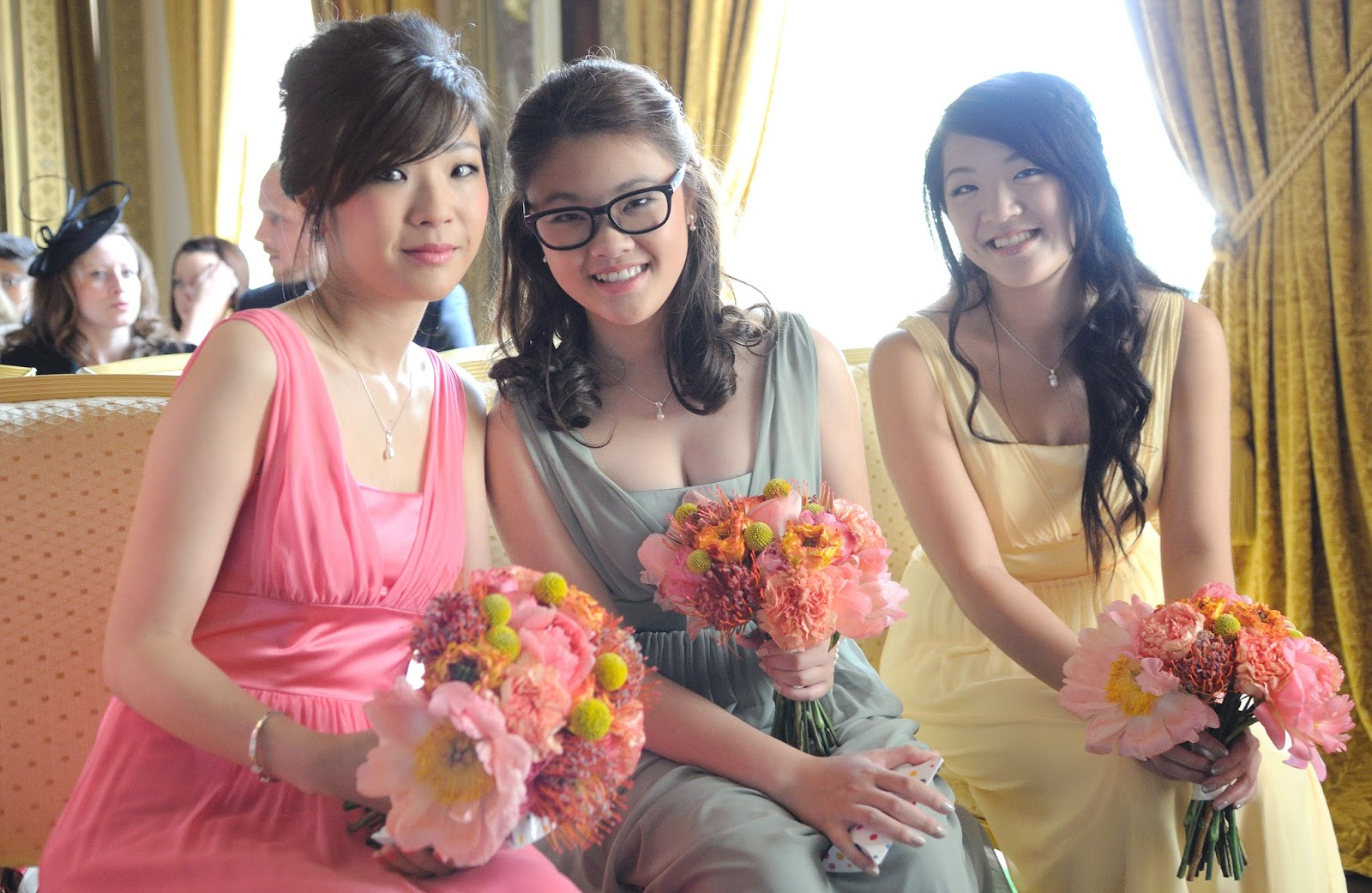 colourful bridesmaids dresses, chiffon bridesmaids dresses, a summer wedding