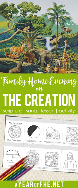 A Year of FHE // A free Family Home Evening lesson about the Creation story found in Genisis. Includes scripture, song, lesson, and two activity downloads.  Your FHE is ready! Just CLICK, PRINT and TEACH! #lds #creation #biblestories