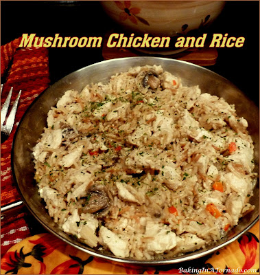 Mushroom Chicken and Rice comes together in under 30 minutes, tastes like you've been cooking all day. | Recipe developed by www.BakingInATornado.com | #recipe #dinner
