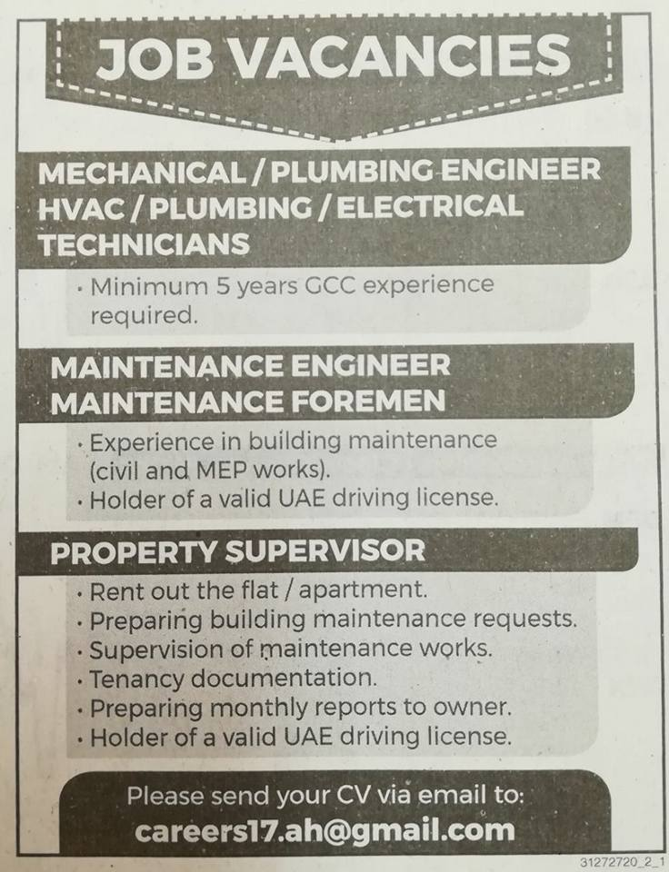 MECHANICAL/PLUMBING ENGINEER HVAC/PLUMBING /ELECTRICAL TECHNICIANS