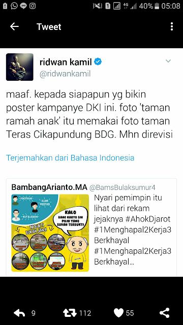 Poster Kampanye Ahok-Djarot Pakai Foto Taman Cikapundung-Bandung, Ini Reaksi Ridwan Kamil