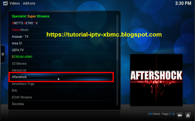 How to add aftershock to kodi