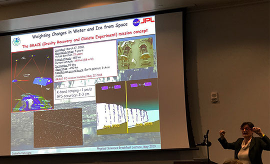UCI Professor Velicogna explains the GRACE mission concept at breakfast lecture series (Source: Palmia Observatory)