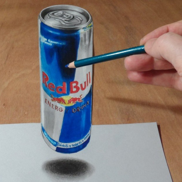 19-Drawing Red Bull-Sandor-Vamos-3D-Optical-Illusions-Anamorphic-Drawings-Videos-www-designstack-co