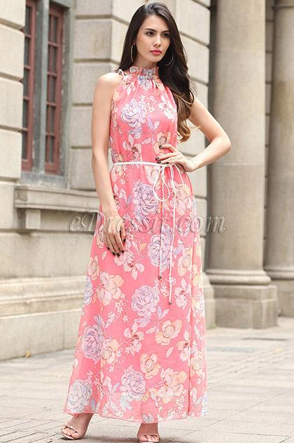 Sleevless Printed Dress Summer Holiday Dress