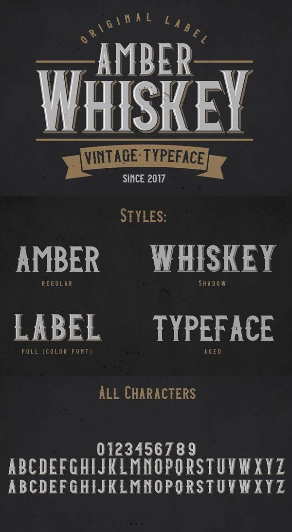 Vintage Font Gratis Terbaik - Amber Whiskey Free Vintage Font