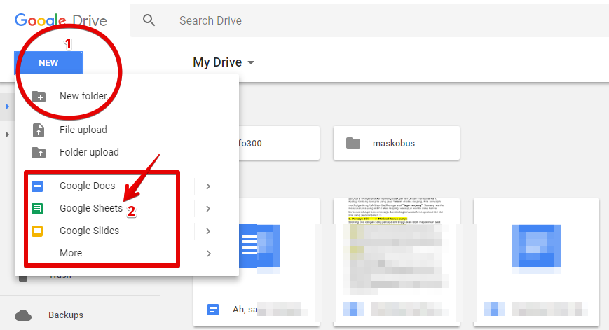 Menu Google Sheet