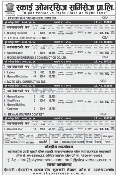 Jobs For Nepali In Saudi Arabia Salary -Rs.33,780/
