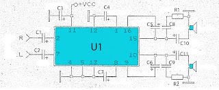 Low power 2 x 2 wat power amplifier