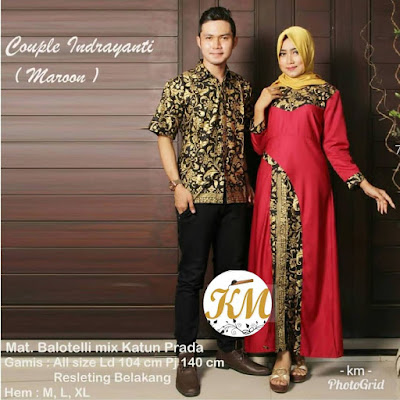 Batik Couple Hijab Indrayanti Dress Panjang kombinasi polos warna Merah