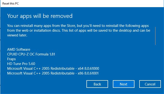 Reset program Windows 10 tanpa hilang data pribadi