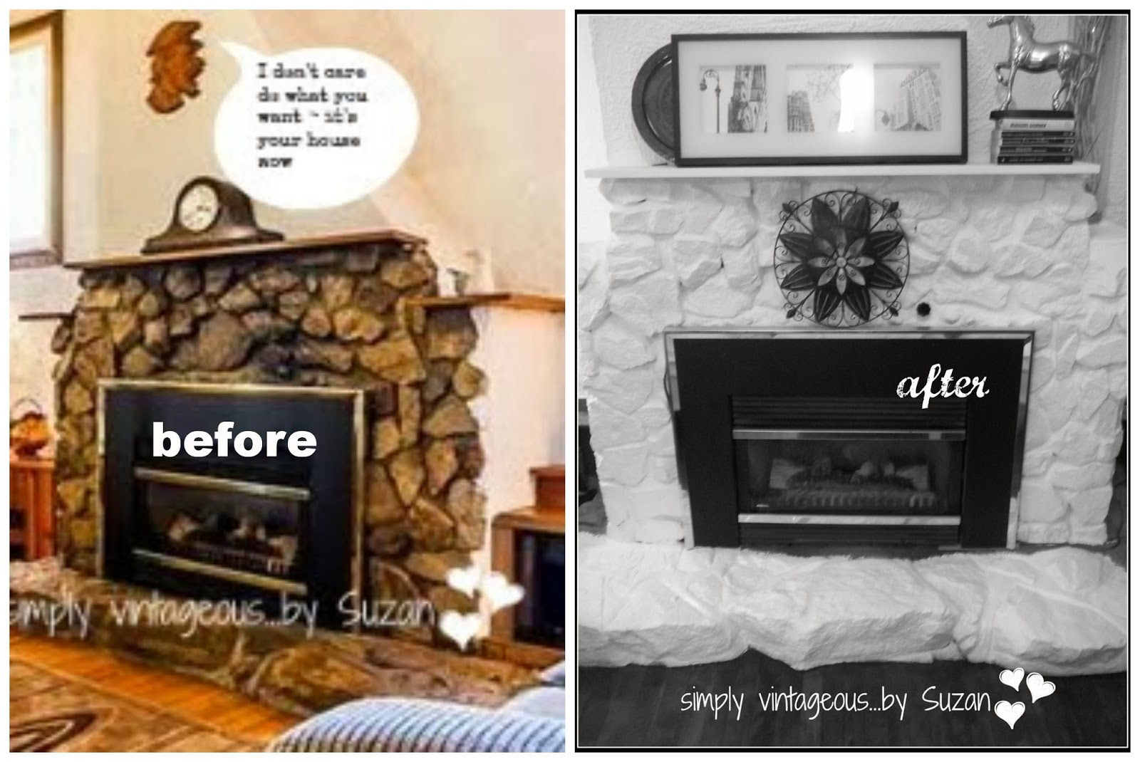 Simply Vintageous By Suzan My Painted Stone Fireplace