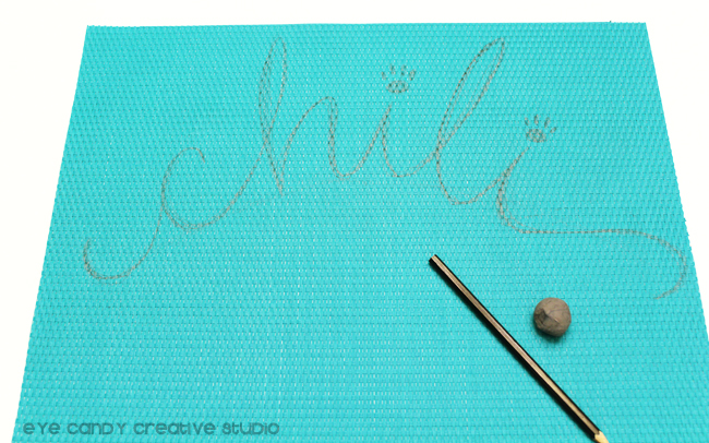 sketch, hand lettering, crafts for your dog, place mat, paw print