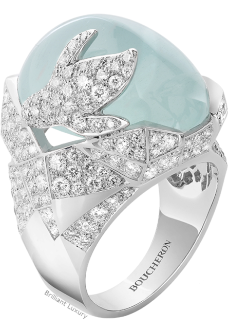 Brilliant Luxury♦Boucheron Paris Arctic Penguin aquamarine ring