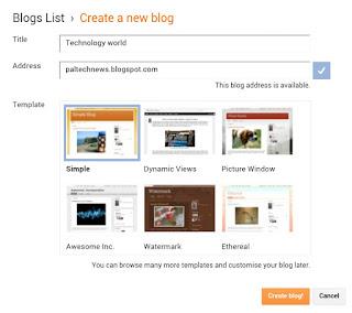 click on create blog