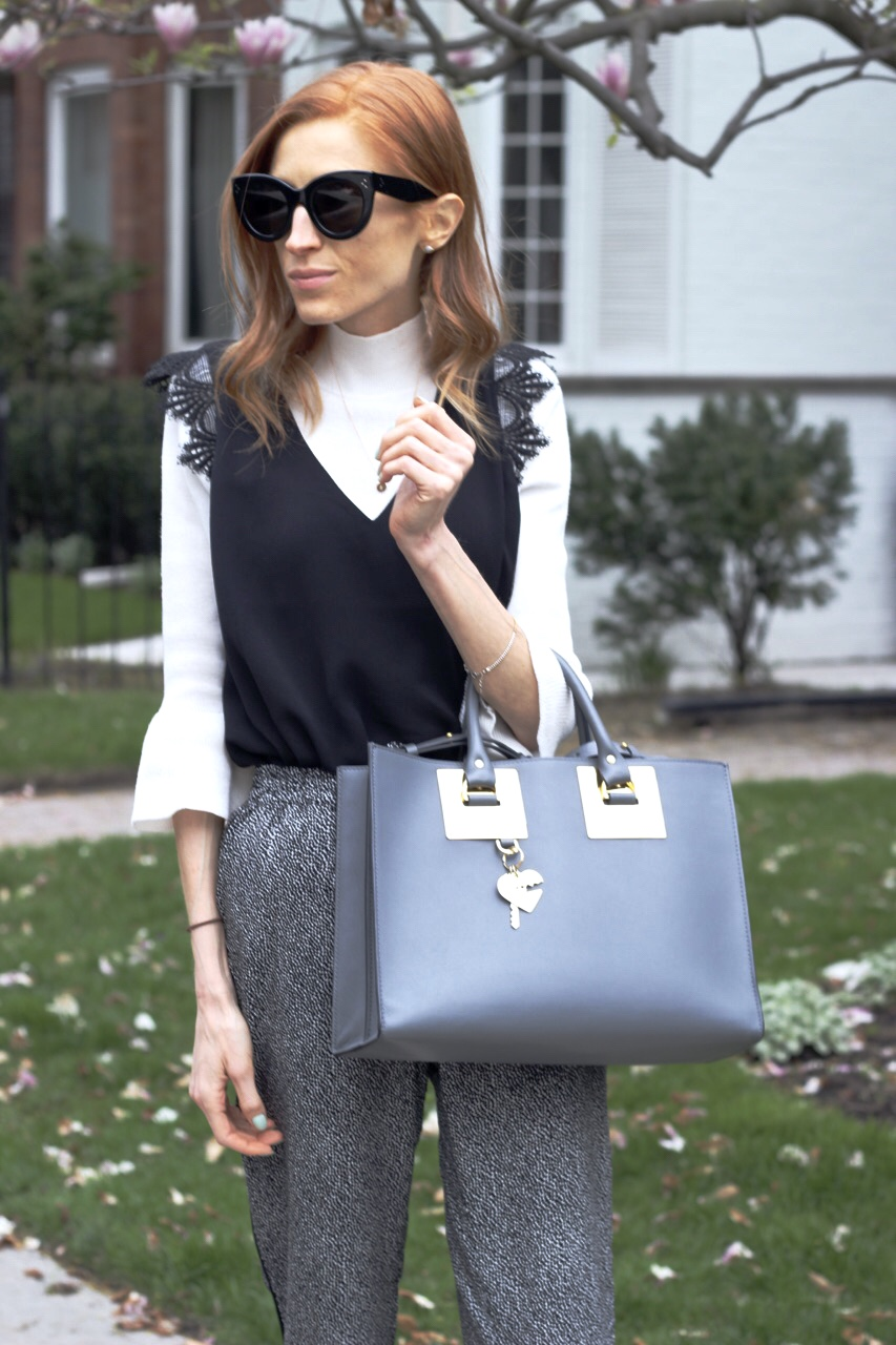 Vero Moda polka dot trousers, white mock neck knit, RW &CO lace cap sleeve blouse, Target flats, Sophie Hulme tote bag charcoal  grey, Celine Caty sunglasses