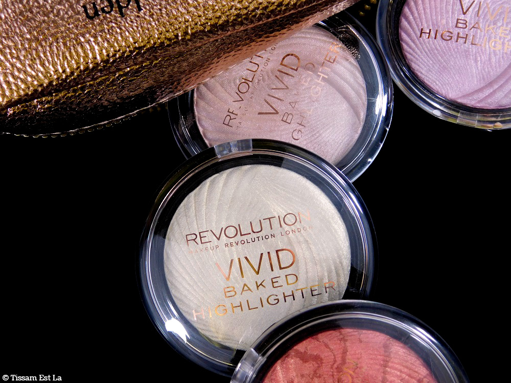 Makeup Revolution | Vivid Baked Highlighters : Golden Lights, Pink Lights, Peach Lights & Rose Gold Lights - Review & Swatches - Avis