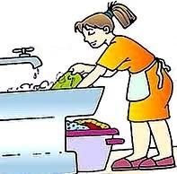 Dibujo de una pesona lavando la ropa a mano a color