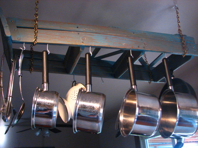 Pot Rack from Found Ladder