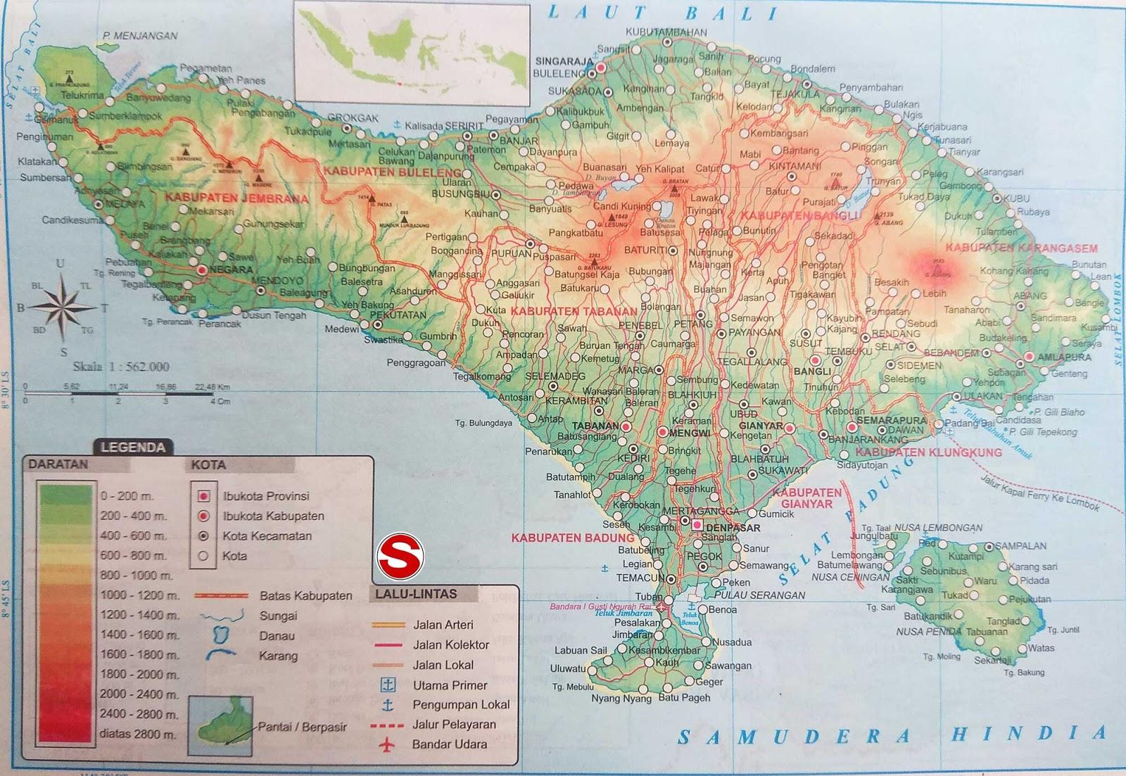 Peta Provinsi Bali di bawah ini mencakup peta dataran Peta Atlas Provinsi Bali