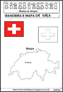 Bandeira e mapa da Suíça