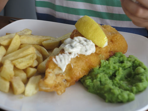 Fish and chips in a pub