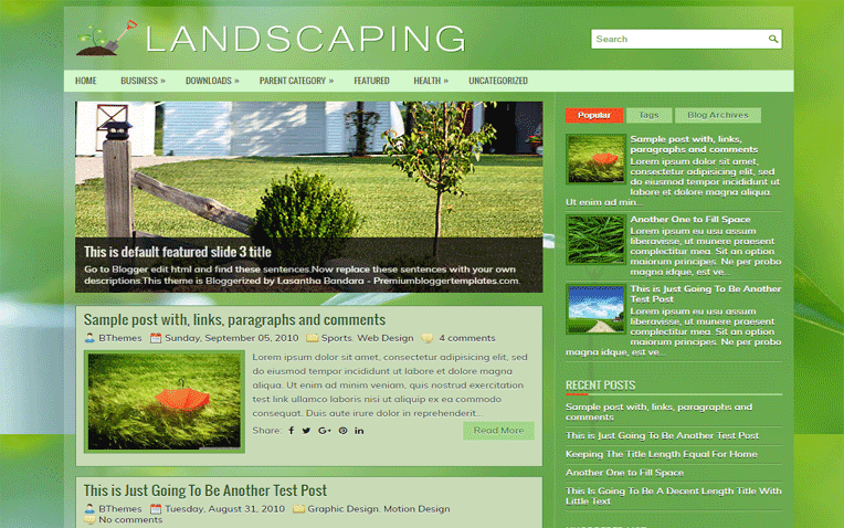 Landscaping Free Blogger Template