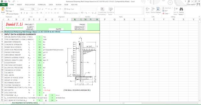 retaining wall design excel sheet