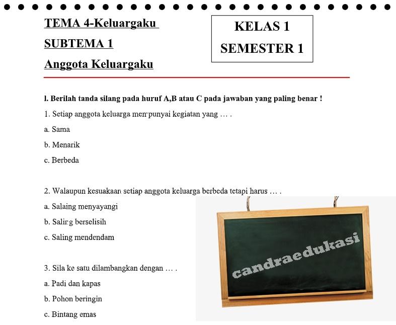 Soal Tematik Kelas 1 Tema 4 Subtema 1 Semester 1 Anak Pandai