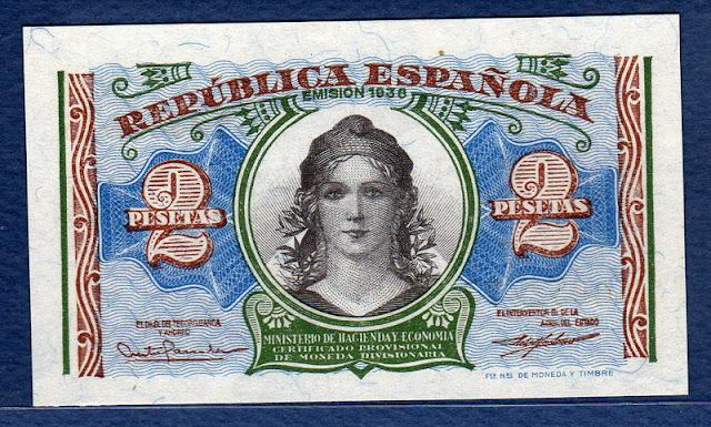 Spain money currency 2 Pesetas allegory woman wearing a Phrygian cap