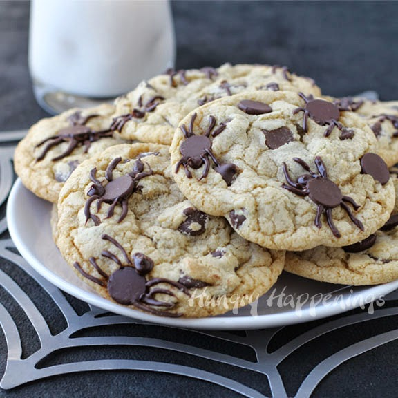 Spider Infested Chocolate Chip Cookies Creepy Halloween Treats