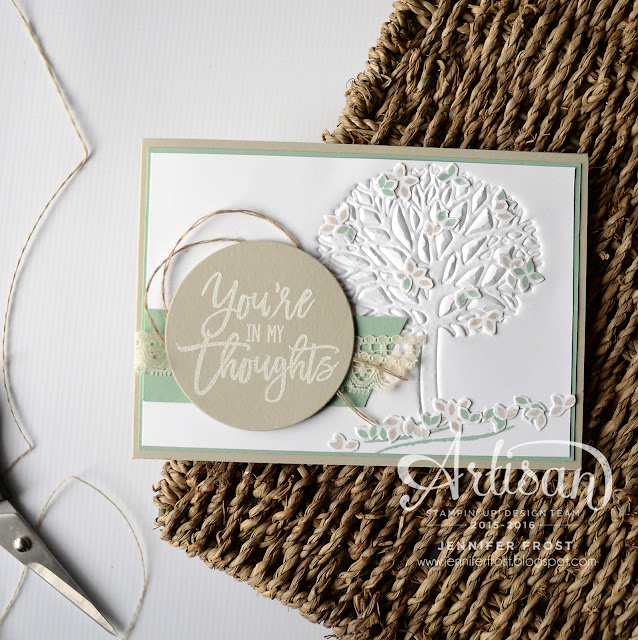 Thoughtful Branches, Stampin' Up!, Papercraft by Jennifer Frost, Sympathy card, Embossing with Dies