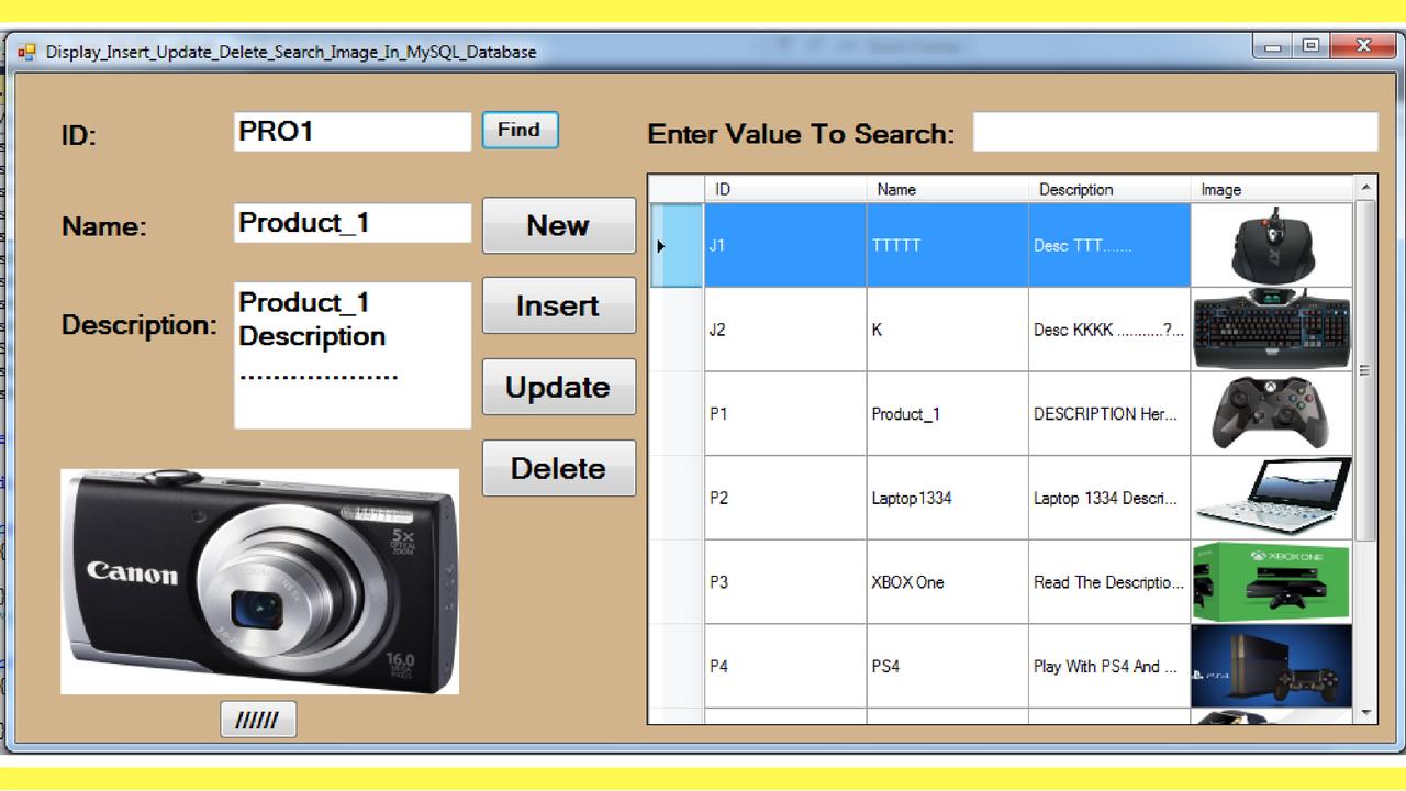 C Insert Update Delete Search Image In Mysql Database C