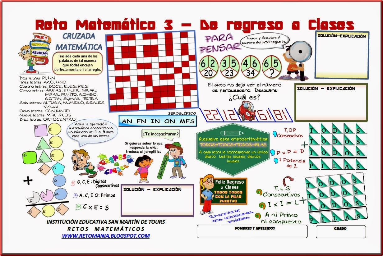 Retos matem´ticos, Desafíos matemáticos, Problemas matemáticos, Problemas de ingenio, Problemas de lógica, Acertijos, Acertijos matemáticos, Jeroglíficos, Criptoaritmética, Alfamética, Problemas para pensar, Sólo para Genios, Problemas de ingenio matemático, Problemas matemáticos con solución, Retos matemáticos con solución