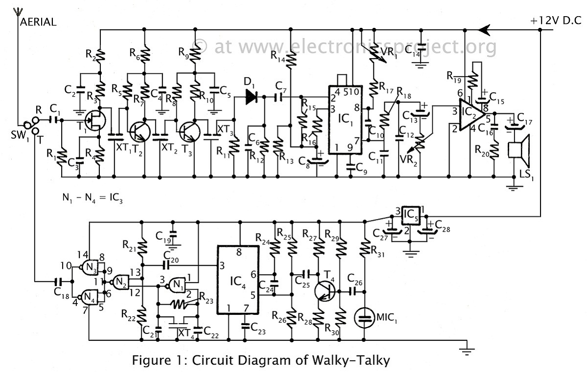 Circuit Of Walkie Talkie Complete With Both Diagram Image
