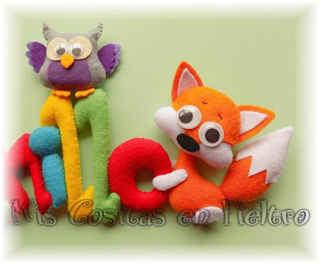 nombre, guirnalda, rótulo, bebé, fieltro, niños, regalo, nacimiento, nome, Juan, Juanito, Juanillo, conejo, coello, ardilla, buho, zorro, fox, owl
