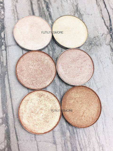 HIGHLIGHT SHADES: Colourpop VS Anastasia Beverly Hills eyeshadows, futilitiesmore, futilitiesandmore, futilities and more, makeup swatches, eyeshadows