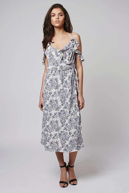 floral summer midi dress, topshop floral cami dress, off shoulder maxi dress,