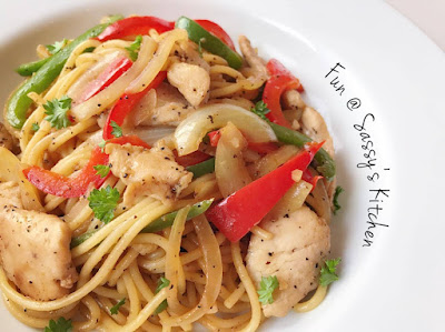 Black Pepper Chicken Pasta by Angela Seah Thulin
