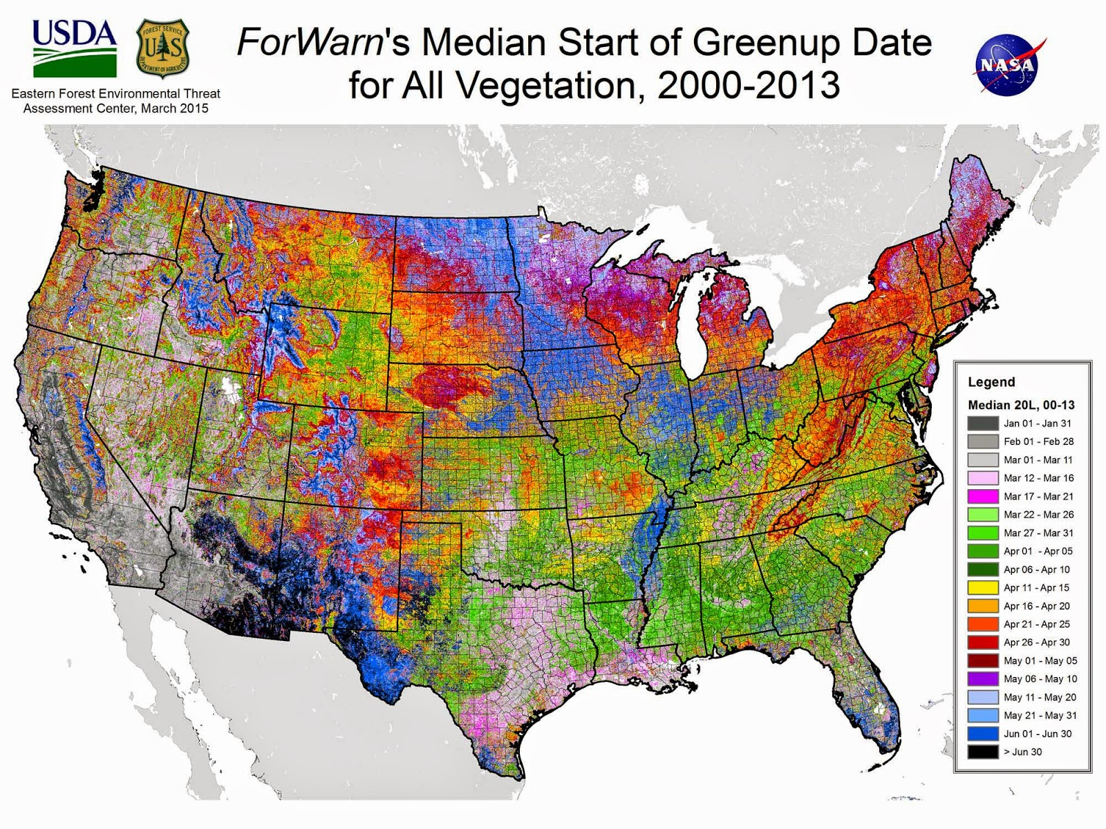 Median foliage greenup dates in the US
