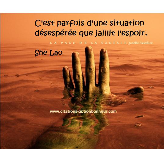 LES PANNEAUX ROSES : Citation sur le désespoir. She Lao