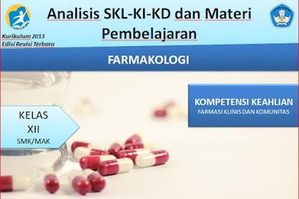 Analisis SKL,KI,KD dan Materi Pembelajaran Farmakologi Kelas XII Kurikulum 2013 Revisi 2018