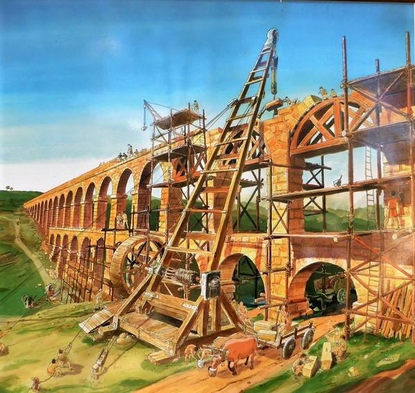 Acueducto de Tarragona, cartel recreación construcción