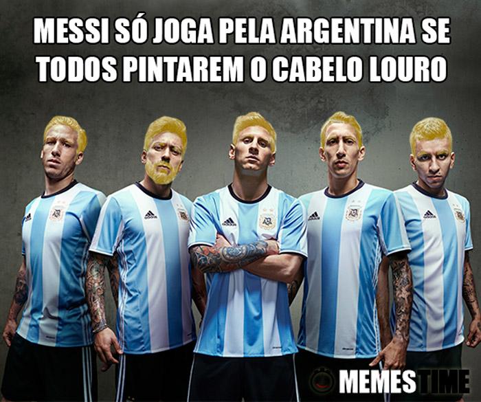 Memes Time Lionel Messi na Seleção Argentina – Lionel Messi só joga pela Argentina se todos pintarem o cabelo Louro.