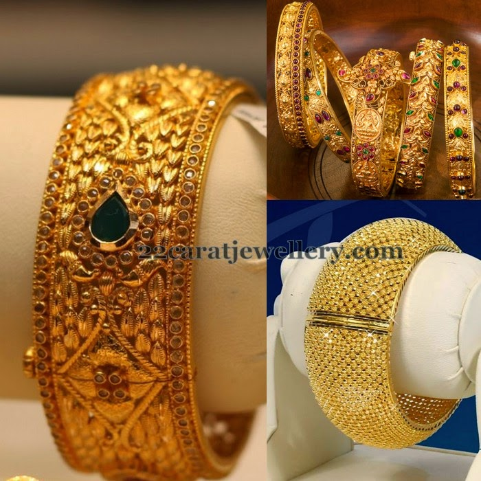broad antique bangles by manepally jewels jewellery designs