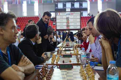 Lors de la ronde 5, la France, emmenée par son leader Maxime Vachier-Lagrave (2780 Elo), s'incline 3-1 dans son match contre l'incroyable équipe de Pologne - Photo © Chess & Strategy
