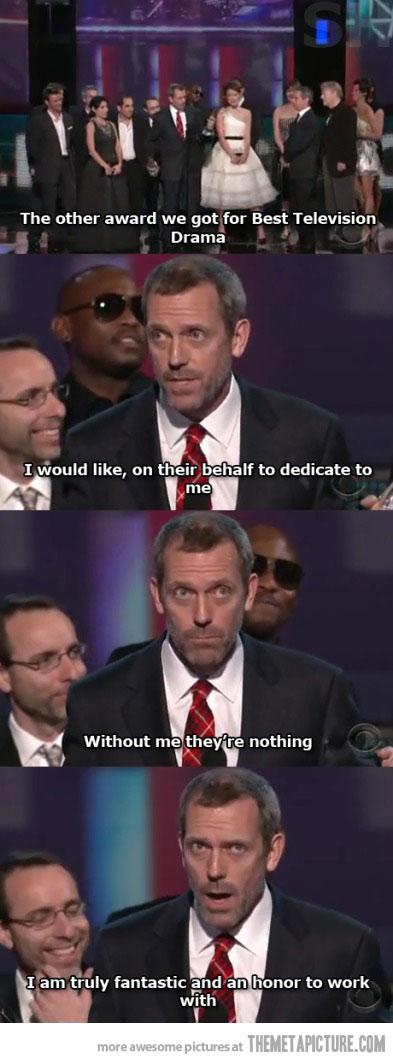 just hugh laurie receiving an award