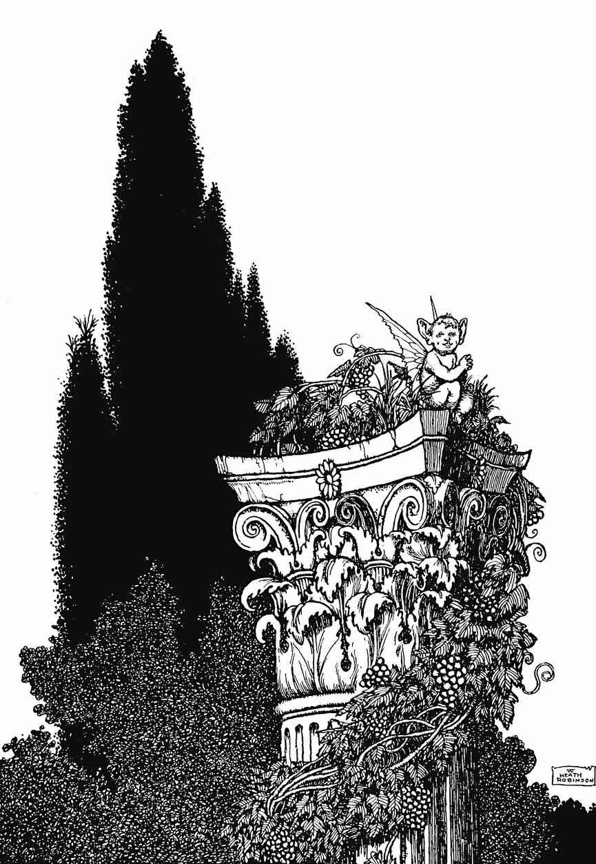 a W. Heath Robinson book illustration, a Midsummer Night's Dream