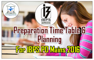 Preparation Time Table and Planning for IBPS PO VI Mains Exam 2016