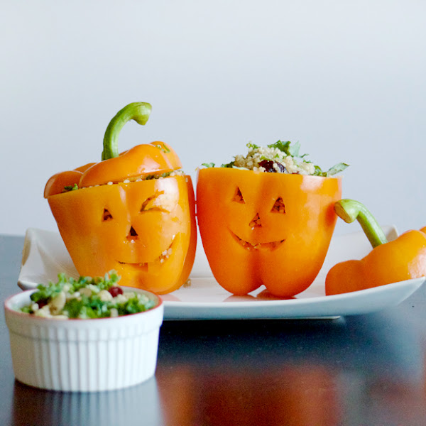 Halloween Quinoa Stuffed Bell Peppers